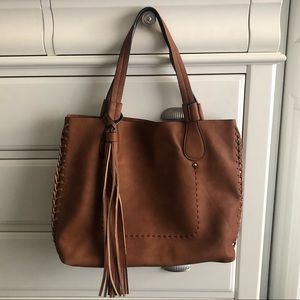 Faux Leather Stitch Tote Bag with Tassel